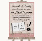 Pink Shabby Chic Photo Guestbook Friends & Family Customised Wedding Sign