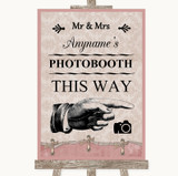 Pink Shabby Chic Photobooth This Way Right Customised Wedding Sign