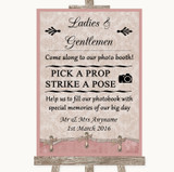 Pink Shabby Chic Pick A Prop Photobooth Customised Wedding Sign