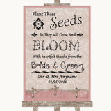 Pink Shabby Chic Plant Seeds Favours Customised Wedding Sign