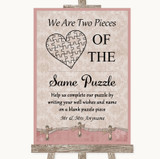 Pink Shabby Chic Puzzle Piece Guest Book Customised Wedding Sign