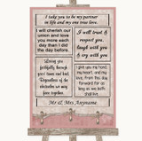 Pink Shabby Chic Romantic Vows Customised Wedding Sign