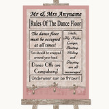 Pink Shabby Chic Rules Of The Dancefloor Customised Wedding Sign