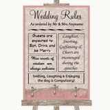 Pink Shabby Chic Rules Of The Wedding Customised Wedding Sign