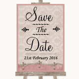 Pink Shabby Chic Save The Date Customised Wedding Sign