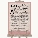 Pink Shabby Chic Signature Favourite Drinks Customised Wedding Sign