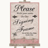 Pink Shabby Chic Signing Frame Guestbook Customised Wedding Sign