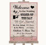 Pink Shabby Chic Welcome Order Of The Day Customised Wedding Sign