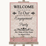Pink Shabby Chic Welcome To Our Engagement Party Customised Wedding Sign