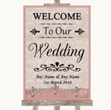 Pink Shabby Chic Welcome To Our Wedding Customised Wedding Sign