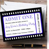 Movie Ticket Blue Customised Birthday Party Invitations