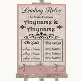 Pink Shabby Chic Who's Who Leading Roles Customised Wedding Sign