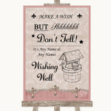 Pink Shabby Chic Wishing Well Message Customised Wedding Sign