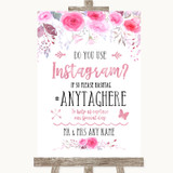Pink Watercolour Floral Instagram Photo Sharing Customised Wedding Sign