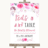 Pink Watercolour Floral Kids Table Customised Wedding Sign