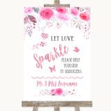 Pink Watercolour Floral Let Love Sparkle Sparkler Send Off Wedding Sign