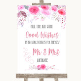 Pink Watercolour Floral Blow Bubbles Customised Wedding Sign