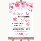 Pink Watercolour Floral Loved Ones In Heaven Customised Wedding Sign