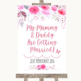 Pink Watercolour Floral Mummy Daddy Getting Married Customised Wedding Sign