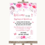 Pink Watercolour Floral No Phone Camera Unplugged Customised Wedding Sign
