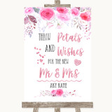 Pink Watercolour Floral Petals Wishes Confetti Customised Wedding Sign