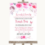 Pink Watercolour Floral Photo Guestbook Friends & Family Wedding Sign