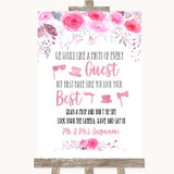 Pink Watercolour Floral Photo Prop Guestbook Customised Wedding Sign