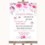 Pink Watercolour Floral Pick A Prop Photobooth Customised Wedding Sign