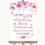 Pink Watercolour Floral Plant Seeds Favours Customised Wedding Sign