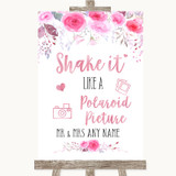 Pink Watercolour Floral Polaroid Picture Customised Wedding Sign