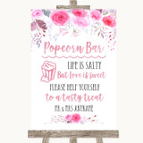 Pink Watercolour Floral Popcorn Bar Customised Wedding Sign