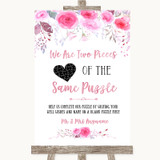 Pink Watercolour Floral Puzzle Piece Guest Book Customised Wedding Sign