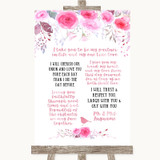 Pink Watercolour Floral Romantic Vows Customised Wedding Sign