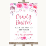 Pink Watercolour Floral Candy Buffet Customised Wedding Sign