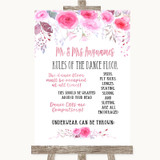 Pink Watercolour Floral Rules Of The Dance Floor Customised Wedding Sign
