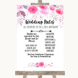 Pink Watercolour Floral Rules Of The Wedding Customised Wedding Sign