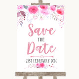 Pink Watercolour Floral Save The Date Customised Wedding Sign