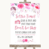 Pink Watercolour Floral Selfie Photo Prop Customised Wedding Sign