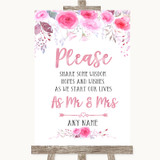 Pink Watercolour Floral Share Your Wishes Customised Wedding Sign