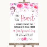 Pink Watercolour Floral Sign a Heart Customised Wedding Sign