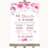 Pink Watercolour Floral Signature Favourite Drinks Customised Wedding Sign