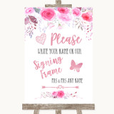 Pink Watercolour Floral Signing Frame Guestbook Customised Wedding Sign