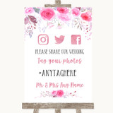 Pink Watercolour Floral Social Media Hashtag Photos Customised Wedding Sign