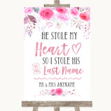 Pink Watercolour Floral Stole Last Name Customised Wedding Sign