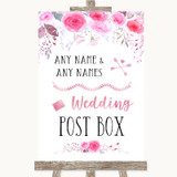 Pink Watercolour Floral Card Post Box Customised Wedding Sign