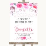 Pink Watercolour Floral Take Some Confetti Customised Wedding Sign