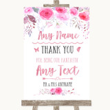 Pink Watercolour Floral Thank You Bridesmaid Page Boy Best Man Wedding Sign