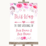 Pink Watercolour Floral This Way Arrow Left Customised Wedding Sign