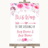 Pink Watercolour Floral This Way Arrow Right Customised Wedding Sign