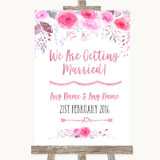 Pink Watercolour Floral We Are Getting Married Customised Wedding Sign